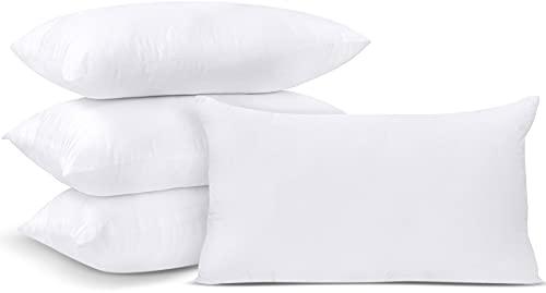 Utopia Bedding Relleno de Cojín 30 x 50 cm (4 Unidades) - Funda de Mezcla de Algodón - Fibra Virgen Siliconada - Almohadas de Sofá (Blanco)