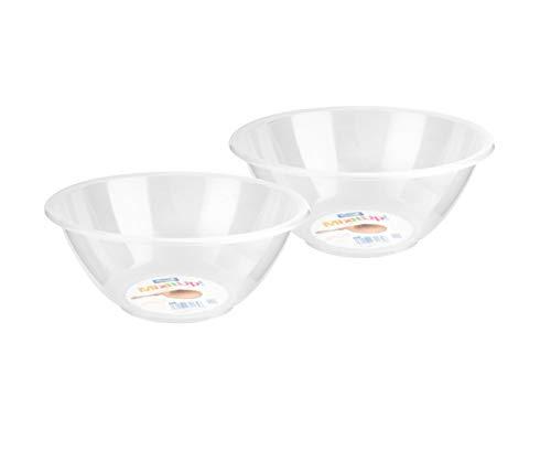 Sozali 2 x Clear Plastic Mixing Bowl 20cm / 2L Round Transparent Mixing Bowl Deep Kitchen Cake Baking Cooking Salad Serving Bowl Fruit Bowl
