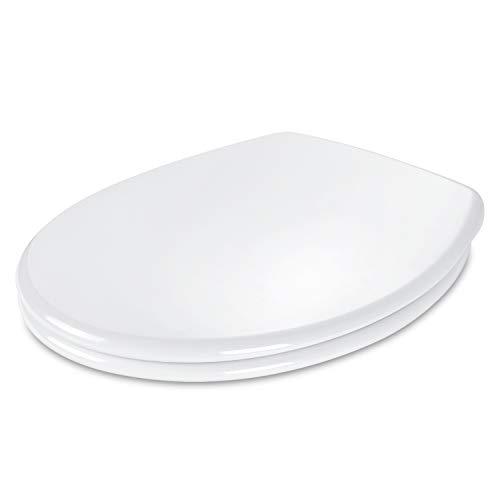 Dalmo O Form WC Sitz, Toilettensitz mit Absenkautomatik und Quick Release-Funktion, Toilettendeckel aus Antibakterielle Duroplast, weiß