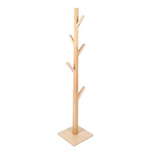 Perchero de Madera Maciza, Perchero de pie en Forma de árbol Moderno, con Base Cuadrada Estable para Dormitorio, salón, Entrada, fácil instalación