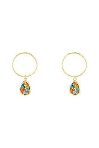 Córdoba jewels   Pendientes en plata de ley 925 bañada en oro con murano con diseño Circle Kiut Murano Oro