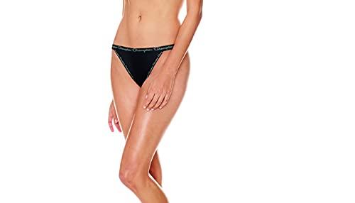 Champion Women's Microfiber String Bikini, 3-Pairs Estilo Ropa Interior, Negro/Negro/Negro, S para Mujer
