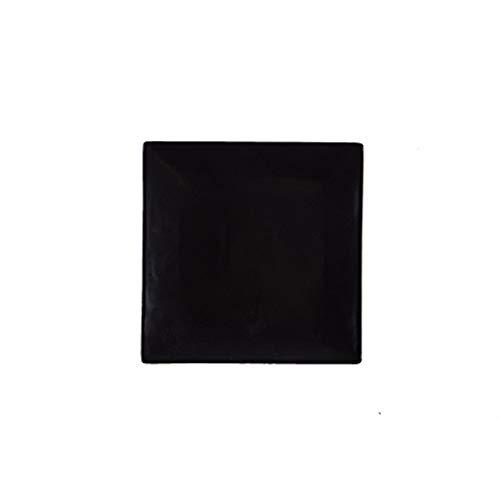 Mrjg Platos 1 unids Placa de cerámica Plato Cuadrado Blanco y Negro Placa de Filete diseño Simple Conjunto de Cena de Porcelana Plato de Desayuno (Color : Black, Plate Size : 10 Inches)