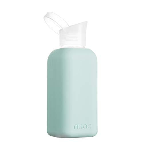 NUOC   Botella de agua cristal   500 ml   Botella de agua reutilizable   Botella de cristal con funda de silicona   Bebidas frías y calientes   sin BPA, ecológica y ligera   Deporte, oficina, yoga