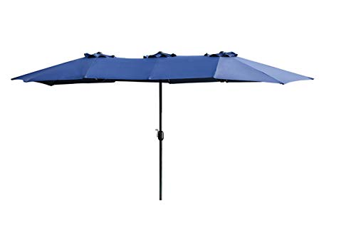 LOKATSE HOME 15 Ft Double Sided Outdoor Umbrella Rectangular Large with Crank for Patio Shade Outside Deck or Pool, feet, Blue