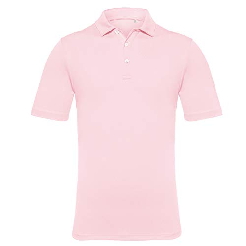 EAGEGOF Men's Regular Fit Golf Polo Shirt Short Sleeve Stretch Quick Dry Performance Polo(Pink, 2XL)