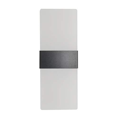 Lámpara de Pared Interior LED moderna simple montaje en pared LED aplique de pared para Corredor, Dormitorio, Escalera, Lámpara de Decoración Moderna Luz de Aluminio Acrílico Lámpara de Pasillo,Brushed black,white light