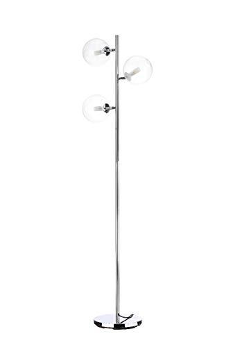 Stehlampe 3 Lichter LED Stehleuchte Glas dekorative Leselampe, 3 x G9 max. Jeweils 3,5 Watt, mit Fußschalter am Kabel, moderne Lampe für Wohnzimmer, Schlafzimmer