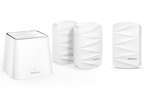 Meshforce M3 Mesh WiFi System (1 Point + 3 WiFi Dot), M3 Dot WiFi Extender Bundle Pack. Supports Up to 7+ Rooms WiFi Coverage.