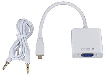 Conversor Adaptador de Micro HDMI a VGA 1080p Negro con Audio Jack 3,5 mm