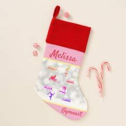 Traasd11an Gymnastics Vault, Bars, Beam, Floor Gymnast Christmas Stocking- Xmas Gift for Family Holiday Christmas Party Decorations 8'x16'