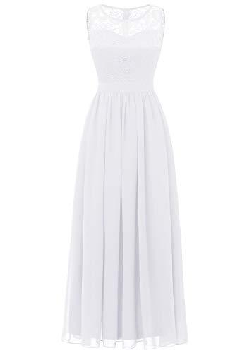 Dressystar 0046 Abendkleid Basic Chiffon Spitzen Ärmellos Brautjungfernkleider Bodenlang Weiß L