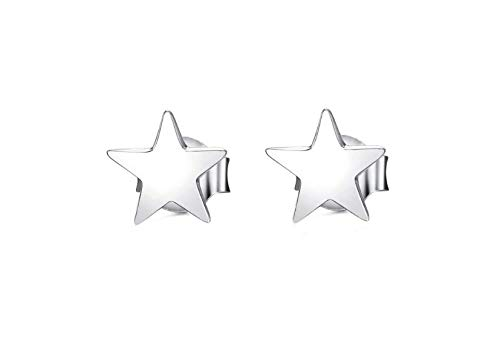 YUIP Pendientes de Plata Estrella de Cinco Puntas Pendientes Estrella Para Mujer Pendientes de Estrella de Cinco Puntas Pendientes Pentagrama de Estilo Simple Star Stud Silver