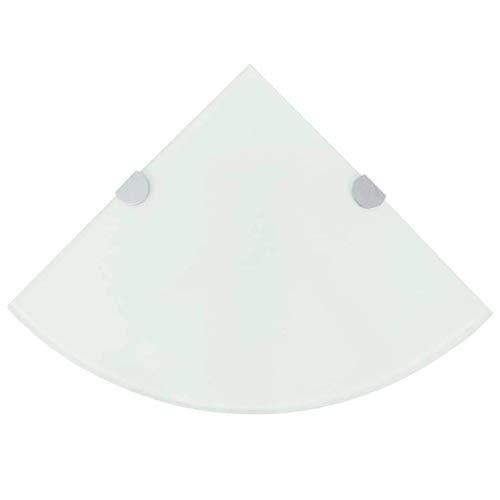 vidaXL Eckregal mit Halterungen Glasboden Bad Ablage Glasplatte Weiß 35 x 35 cm