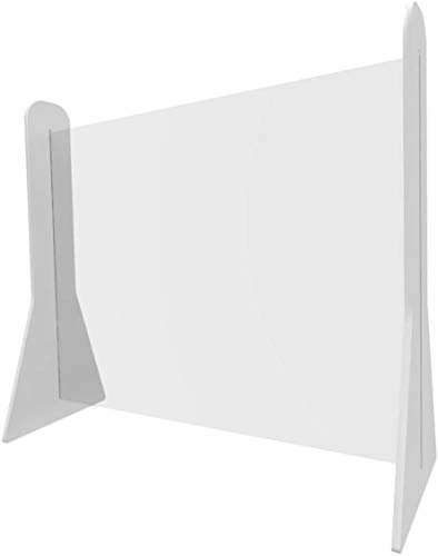 Table Desk Divider Sneeze Guard, Portable Perspex Screen - Hygienic Clear Plastic Acrylic Transparent Protection Shield | Schools, Offices, Businesses, Shops (800 x 600mm)
