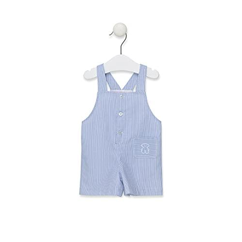 TOUS BABY - Peto de tirantes corto Azul celeste para tu Bebé. Estampado Strip. ( 6 -12 Meses)