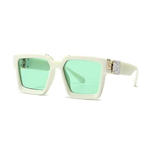 Huguo Retro Square Gafas de Sol Mujeres Diseñador de Marca Estilos de Verano Colores de Caramelo Moda Espejo de Plata Sombras Hombres UV400 BeigeGreen