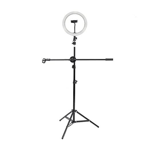 FACAZ Soporte de micrófono LED Beauty Selfie Anillo de luz de Video con Poste de micrófono 160cm Soporte de trípode Obturador de Diente Clip de teléfono Soporte de micrófono con Brazo Profesional
