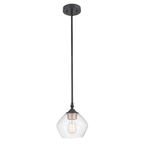 "Globe Electric Harrow 1-Light Pendant, Gold Accent Socket, Shade 60312, 59.6"", Matte Black with Clear Glass"