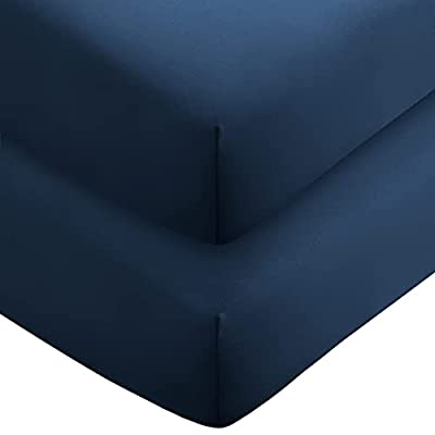 Bare Home 2-Pack Fitted Bottom Sheets Twin XL - Premium 1800 Ultra-Soft Wrinkle Resistant Microfiber - Hypoallergenic - Deep Pocket (Twin XL, Dark Blue)