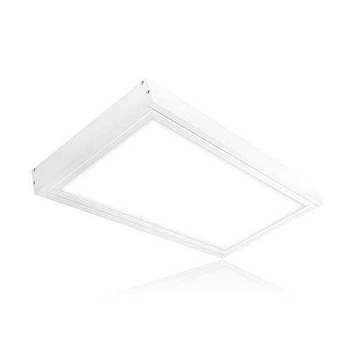 LED Deckenleuchte 24W warmweiß 60x30cm Panel mit Aufputz-Rahmen Deckenlampe Aufputz 3CCT Lichtfarbe umschaltbar warmweiß neutralweiß tageslichtweiß PMMA Serie PLs3.0