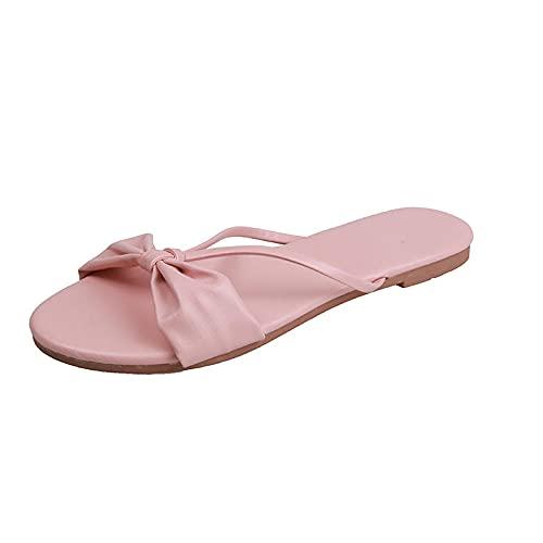 Sandalias con Tira Trasera,Sandalias de Deslizamiento Grueso de Deslizamiento, Pendientes para vestirse con Zapatillas frías-Rosa_39,Pantuflas de baño