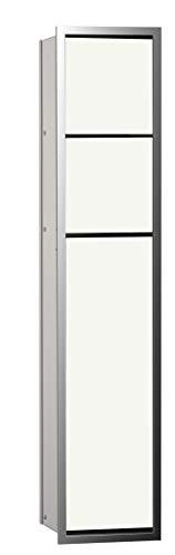 emco ASIS 150 Unterputz-Schrankmodul, Badezimmerschrank als Toilettenpapierhalter & Klobürstenhalter mit extra Fach, Hochschrank mit