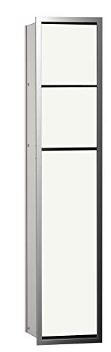 Emco Asis 150 975027850 - Armario de baño para empotrar (Cromo/Cristal Blanco, bisagra de Puerta a Elegir)