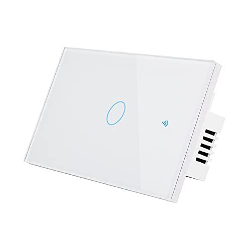 Pilvnar Wi-Fi Smart Switch Control Remoto por Voz Control Remoto Smart Home RF433 Interruptor Pantalla táctil Función sincronización Compatible Amazon Alexa/Google Home Requiere línea Neutra sin hub
