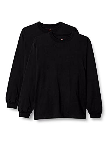 [ヘインズ] ビーフィー ロングスリーブ Tシャツ ロンT 長袖 1枚組 BEEFY-T 綿100% 肉厚生地 無地 H5186 メンズ ブラック M