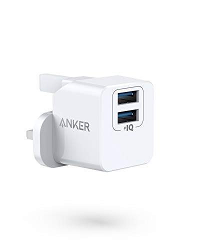 Anker USB Plug Charger, PowerPort mini Dual Port USB Charger, Super Compact Wall Charger, 2.4A Output for iPhone Xs/XS Max/XR/X/8/7/6/Plus, iPad Pro/Air 2/Mini 4, and More