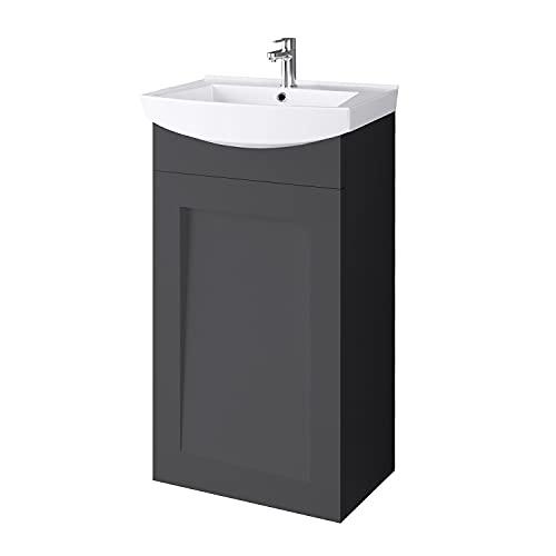 Waschtischunterschrank Keramikwaschbecken Gäste WC 45cm matt (Anthrazit matt)