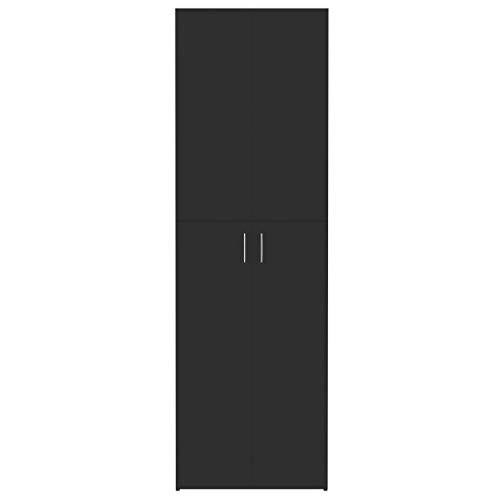Lechnical Armadio da Ufficio Moderno e Pratico, Armadio per Ufficio in truciolare Nero Lucido 60x32x190 cm (LxPxH) -2 Ante e 5 Piani