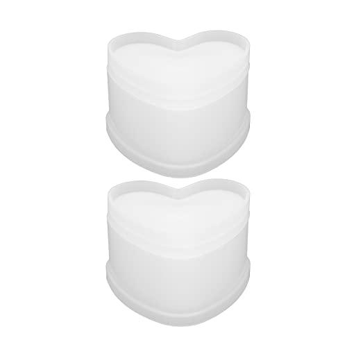 Eulbevoli Caja de Silicona con Forma de corazón de 2 Piezas, Caja de Silicona de joyería de 2 Piezas Mano Antiadherente para almacenar Pendientes Anillos Llaves