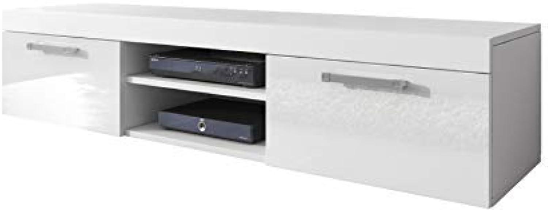 E-com TV Unit Cabinet TV Stand Entertainment Lowboard Mambo (White Matte Body White Front High Gloss, 140cm)