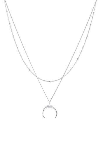 Elli Collares Conjunto de collares con motivo de luna de plata esterlina 925 bañada en oro