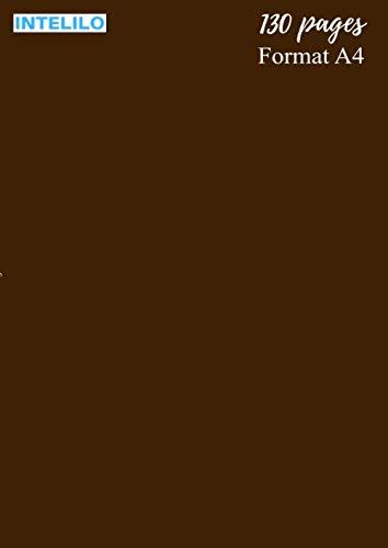 """Cahier Grand format en Brou de noix: 130 pages, taille A4 de 21 x 29,7 cm (8,27"""" po x 11,69"""" po), réglure Seyès et grands carreaux en blanc et noir ... étudiant, élève, école et université"""