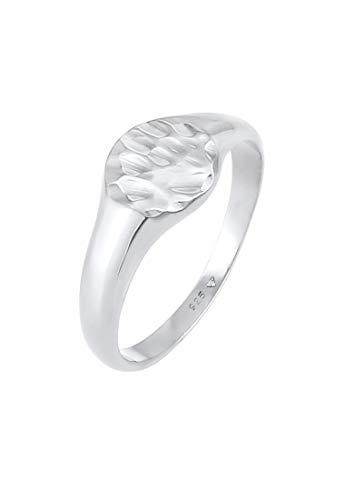 Elli Ring Damen Siegelring Royal Hammerschlag Trend aus 925 Sterling Silber