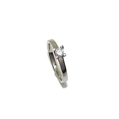 Never Say Never Solitario in oro bianco da 18 carati, con diamante da 0,20 ct colore livello H e purezza livello VS ideale come anello di fidanzamento, anello da matrimonio.