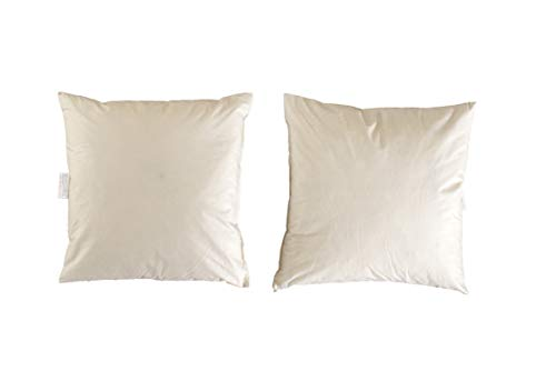 Lancashire Textiles Duck Feather Cushion Pad Inner Insert 2 Pack 26' x 26' (65cm) - 100% Downproof Cotton Cover - Made in UK