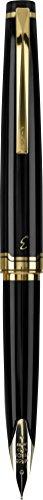 PILOT E95s Fountain Pen, Black Barrel with Gold Accents, Fine Nib, Blue Ink (60837)