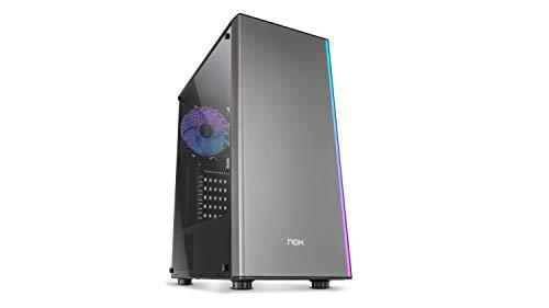 Nox Infinity Omega -NXINFTYOMEGA- Semitorre ARGB ATX - Micro ATX-ITX, ventilador ARGB 120mm incluido, USB 2.0 - 3.0 - Audio hub, espacio para hasta 4 ventiladores, panel lateral acrílico, color negro