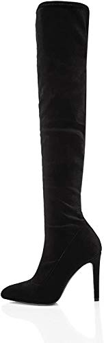 find. Damen Kniestiefel Stretch, Schwarz, 38