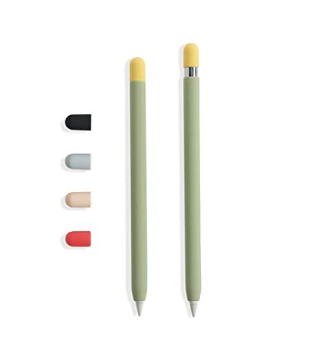 doodroo - Skin para Apple Pencil, Funda Protectora Verde Aguacate con 5 Capuchas de Colores, Compatible con Apple Pencil 1a y 2a generación