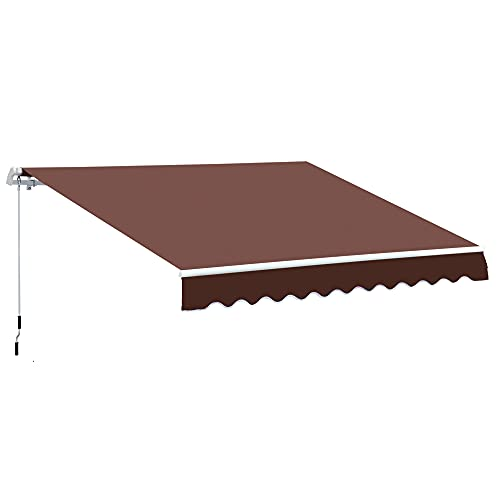 Outsunny 12' x 8' Outdoor Patio Manual Retractable Exterior Window Awning Sunshade, Shelter with Durable PU Design, Brown