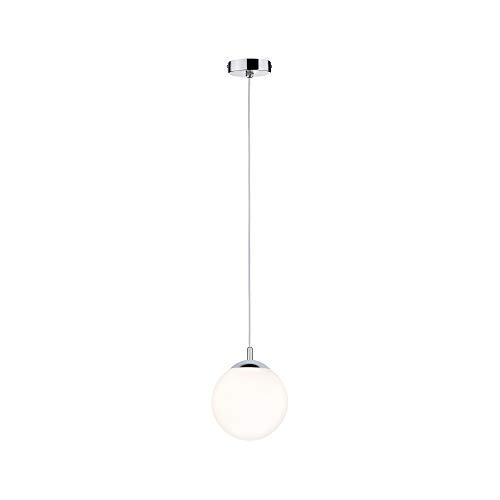 Paulmann 70895 Pendelleuchte Globe rund max. 20 Watt Hängelampe IP44 Spritzwassergeschützt Satin, Chrom Deckenlampe E27