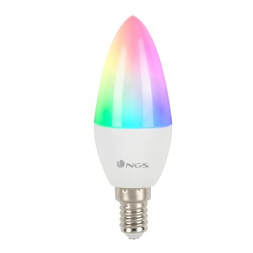 NGS GLEAM514C - Bombilla LED Wi-Fi con Colores Regulables RGB+W, Bombilla Inteligente 5W E-14 500LM,...