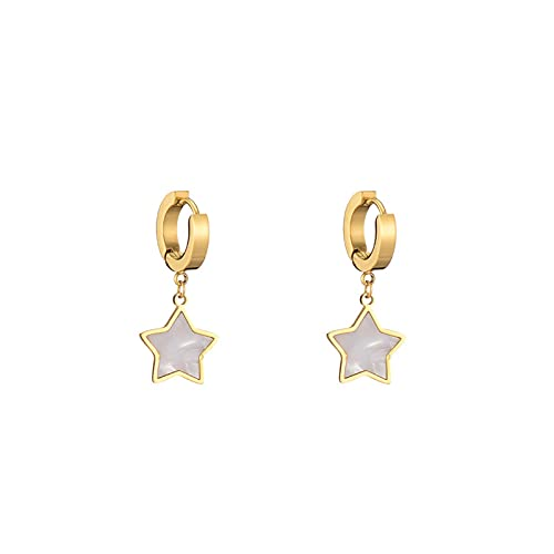 hcma Retro Fashion Star Stainless Steel Jewelry Gold Plated Clip On Earrings For Women