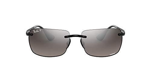 Ray-Ban Men's RB4255 Chromance Mirrored Rectangular Sunglasses, Shiny Black/Polarized Silver Mirror, 60 mm