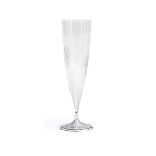 50 flûtes à champagne plastique transparentes, effet torsadé-réutilisables
